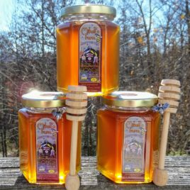 Raw Wildflower Honey in 12 oz Hex Glass Jar With Metal Top; dipper and charm option