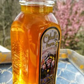Raw Wildflower/Spring Blend Honey in Muth Glass Jar With Cork Top; dipper and charm option