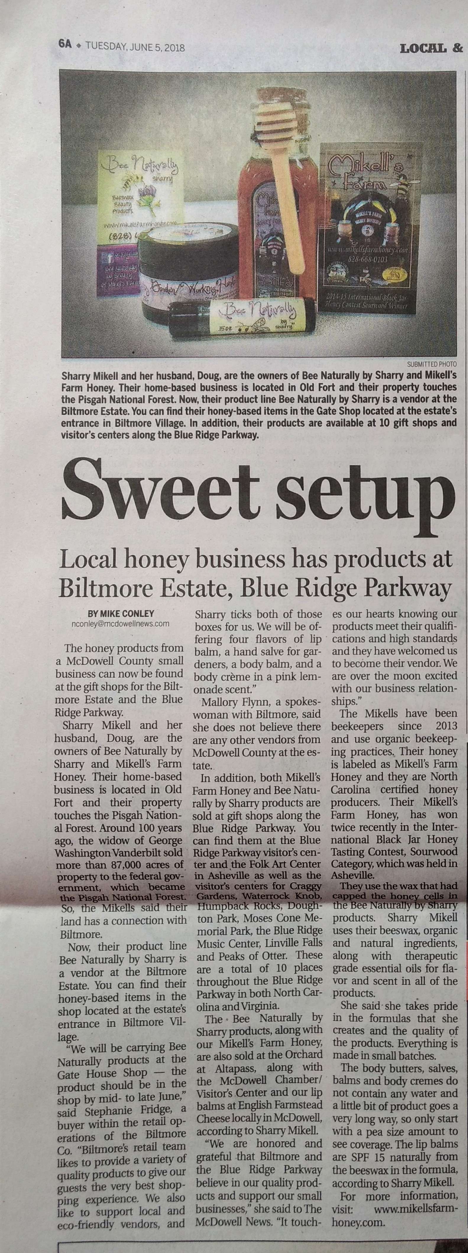 Pic of 6.5.18 McDowell Newspaper article on Mikell's Farm Honey and Bee Naturally by Sharry