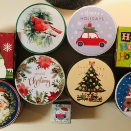 CHOOSE YOUR PACKAGE; Festive Holiday Gift Box, Round Gift Tin, or Small Tin Lunchbox with packing confetti, bow and optional card. ** (Honey and products not included.)**