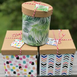 3 GIFT PACKAGE OPTIONS: choose (1) Cylinder for Muth jar honey, (2) Square or Circular Gift Box or (3) Decorative Purse Gift Box with packing confetti, tissue and optional card. ** (Honey and products not included, only shown for an example.)**  See Examples listed in description.