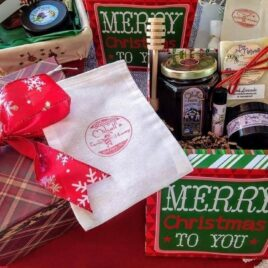 CHOOSE YOUR PACKAGE; Festive Large Gift Box, or Round Gift Tin for the perfect gift (with confetti, bow and optional card). ** (Honey and products not included.)**